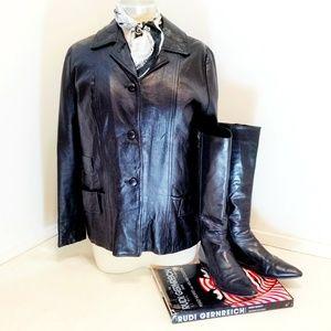 VTG 60s Black Leather Biker Jacket Beatnik cut